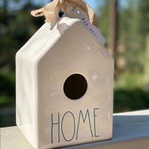 Rae Dunn Birdhouse HOME White W- Blue letters